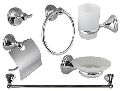 Vetrineinrete set bagno in acciaio cromato e vetro satinato