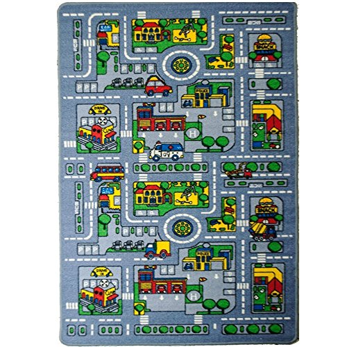 Kids Rug City Map 5' X 7' Childrens Area - Street Map Non Sk