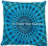 26 x 26 Euro Pillow Sham Decorative Mandala Cushion Cover, Large Meditation Pillow, Ethnic Cotton Cushion (Pattern 19)