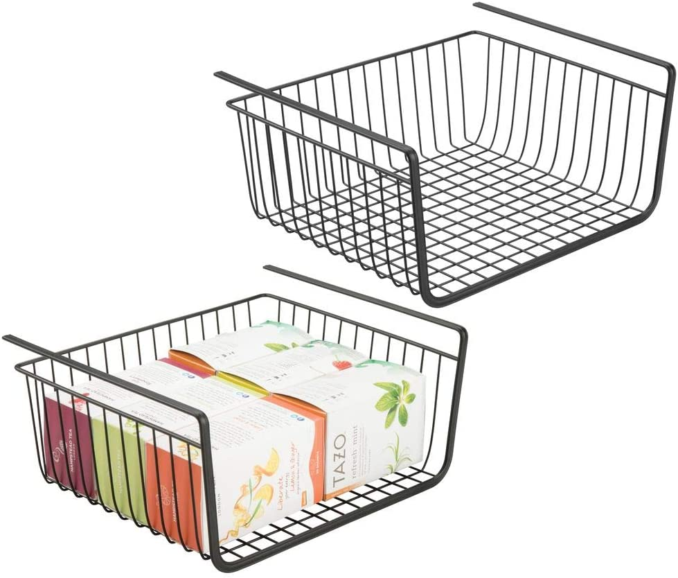 mDesign Household Metal Under Shelf Hanging Storage Bin Basket with Open Front for Organizing Kitchen Cabinets, Cupboards, Pantries, Shelves - Large, 2 Pack - Black