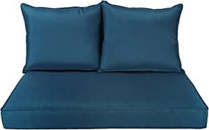 BOSSIMA Patio Furniture Cushions Comofort Deep Seat Loveseat Cushion Indoor Outdoor Seating Cushions Teal Blue