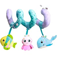 caterbee Car Seat Toys, Baby Activity Spiral Plush Stroller bar Toy Accessories, Crib Toys with Bell for boy or Girl…