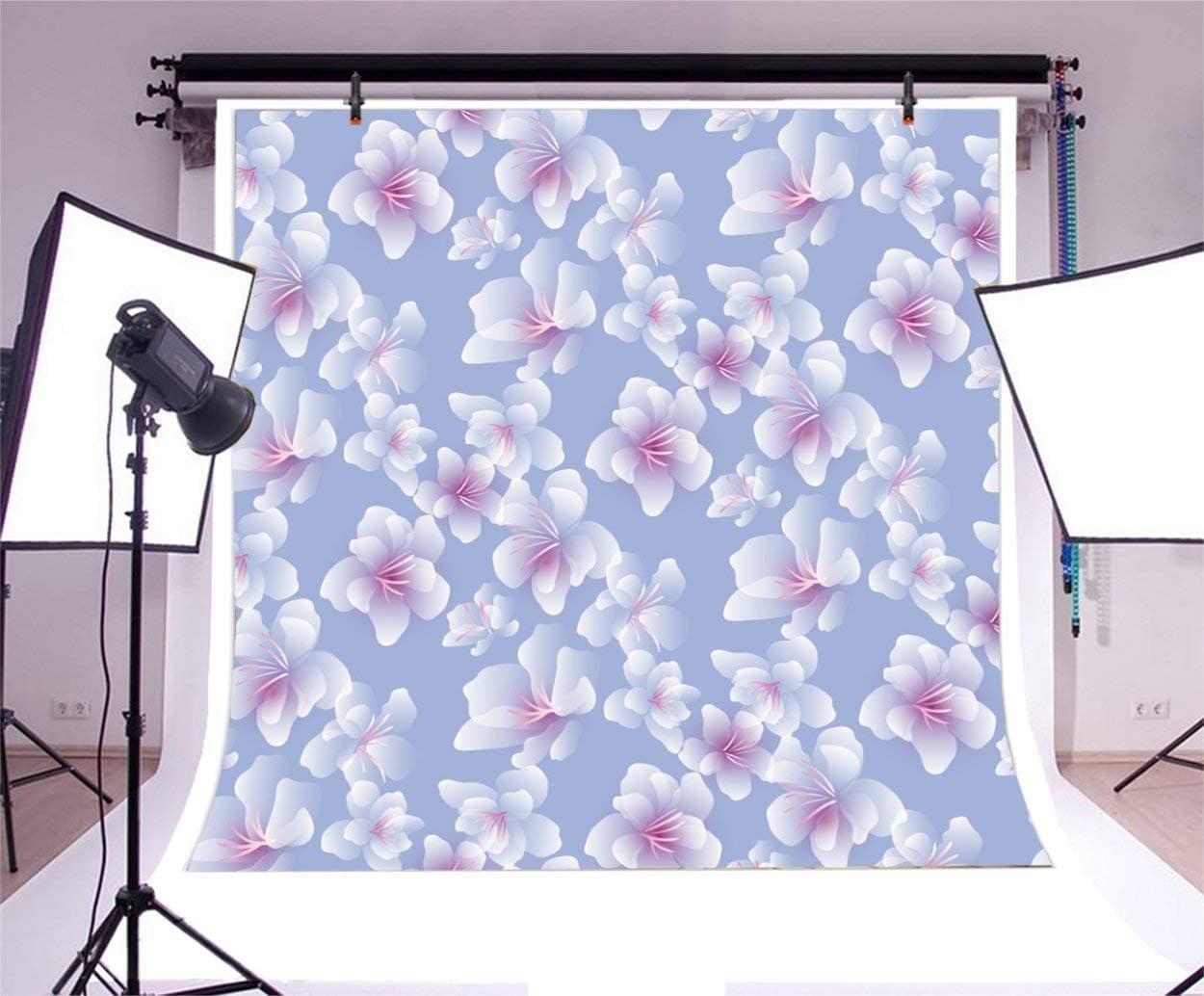 Blossoms Backdrop 8x8ft Watercolor Photography Backgroud Plain Theme Blue Backdorp Wallpaper Party Decor Product Pet Kid Adult Photo Potraits Art Studio Prop