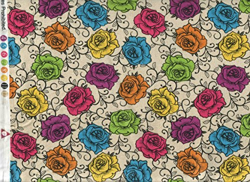 David Textiles Fabric~ Multi Colored Rose Crown Fabric ~ HALF YARD!!! ~ DT-4385-4C ~ Rosas Prismaticas~ Sugar Skull Crown Tattoo Quilt Fabric 100% Cotton 45