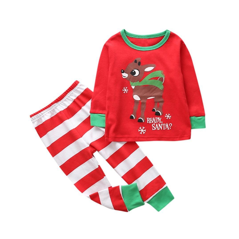 Ecurson Santa's Little Helper Baby Girl Boy Christmas Outfits Clothes Set