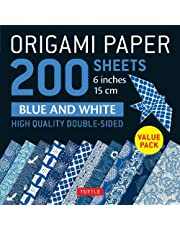 """Origami Paper 200 sheets Blue and White Patterns 6"""" (15 cm): High-Quality Double Sided Origami Sheets Printed with 12 Different Designs (Instructions for 6 Projects Included)"""