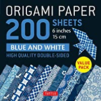 """Origami Paper 200 sheets Blue and White Patterns 6"""" (15 cm): High-Quality Double Sided Origami Sheets Printed with 12…"""