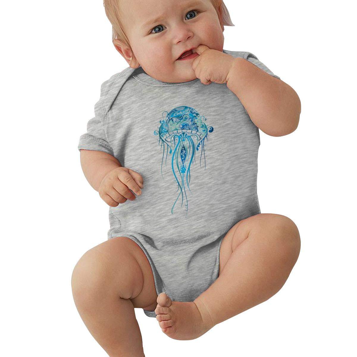 Dfenere Blue Jellyfish Graphic Newborn Baby Short Sleeve Bodysuit Romper Infant Summer Clothing Black