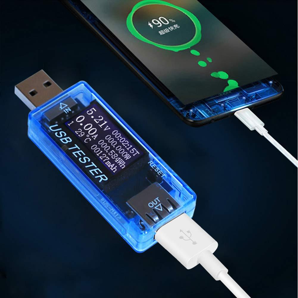 Schwarz Digitaler Detektor Multifunktion USB LCD GFULLOV Strom- und Spannungspr/üfer Anzeige aktueller elektrischer Strom