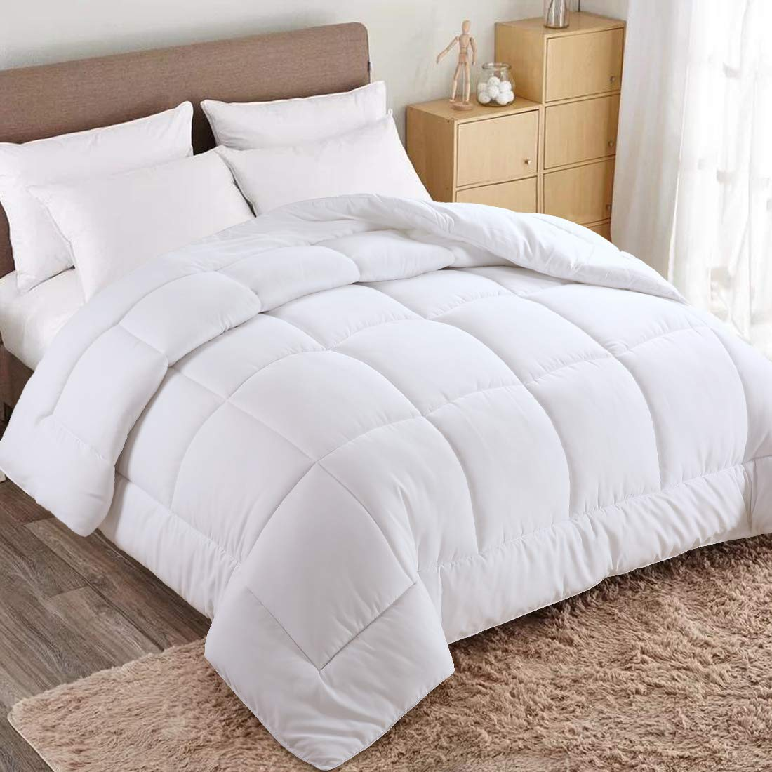 WARM HARBOR Queen All Season White Down Alternative Quilted Comforter and Duvet Insert - Luxury Hotel Collection Premium Lightweight(Queen,White)