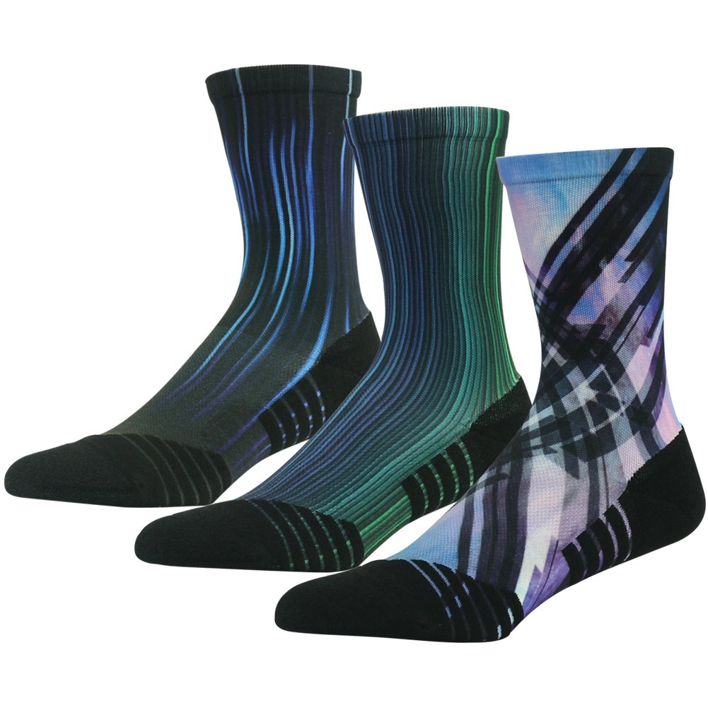 HUSO Mid Calf Hiking Socks Fashion Style Wicking Athletic Light Hiker Socks 3 Pairs (Multicolor, L/XL) by HUSO