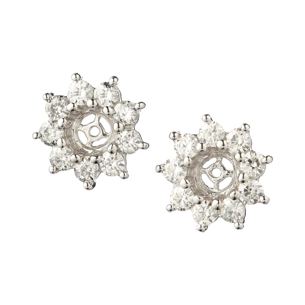 Round Brilliant Cut Moissanite Flower Earring Jackets 0.54cttw DEW By Charles & Colvard