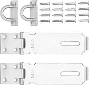 2 PCS 5 Inch Padlock Hasp, KINJOEK Stainless Steel Security Door Clasp Hasp Lock Latch, 2mm Extra Thick Door Gate Bolt Lock with 16 Mounting Screws