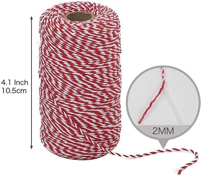 OUTANG Cuerda Blanca roja Cadena de algodón de Navidad Cordón ...