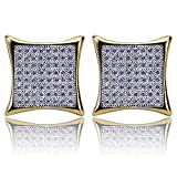 Hip Hop Iced Out Flat Screen Stud Earrings With Screw Back For Men And Women