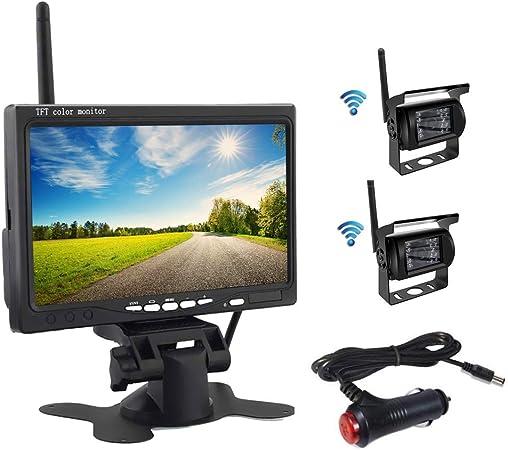 Oiliehu Kit de CáMara de VisióN Trasera InaláMbrica, Monitor LCD TFT HD 7