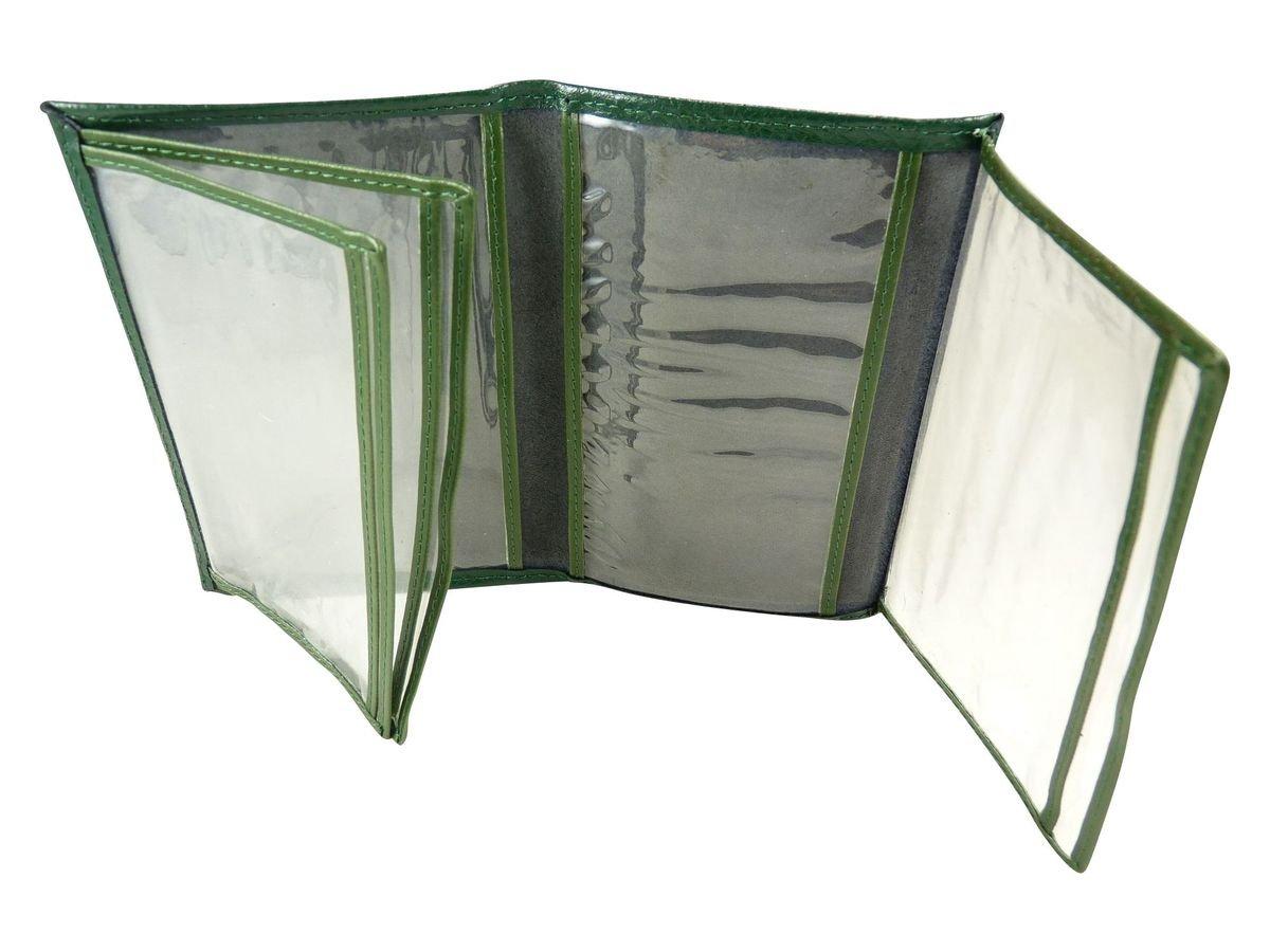 Pochette de protection, Etui Porte carte grise, assurance, permis en croute de cuir Vert TU
