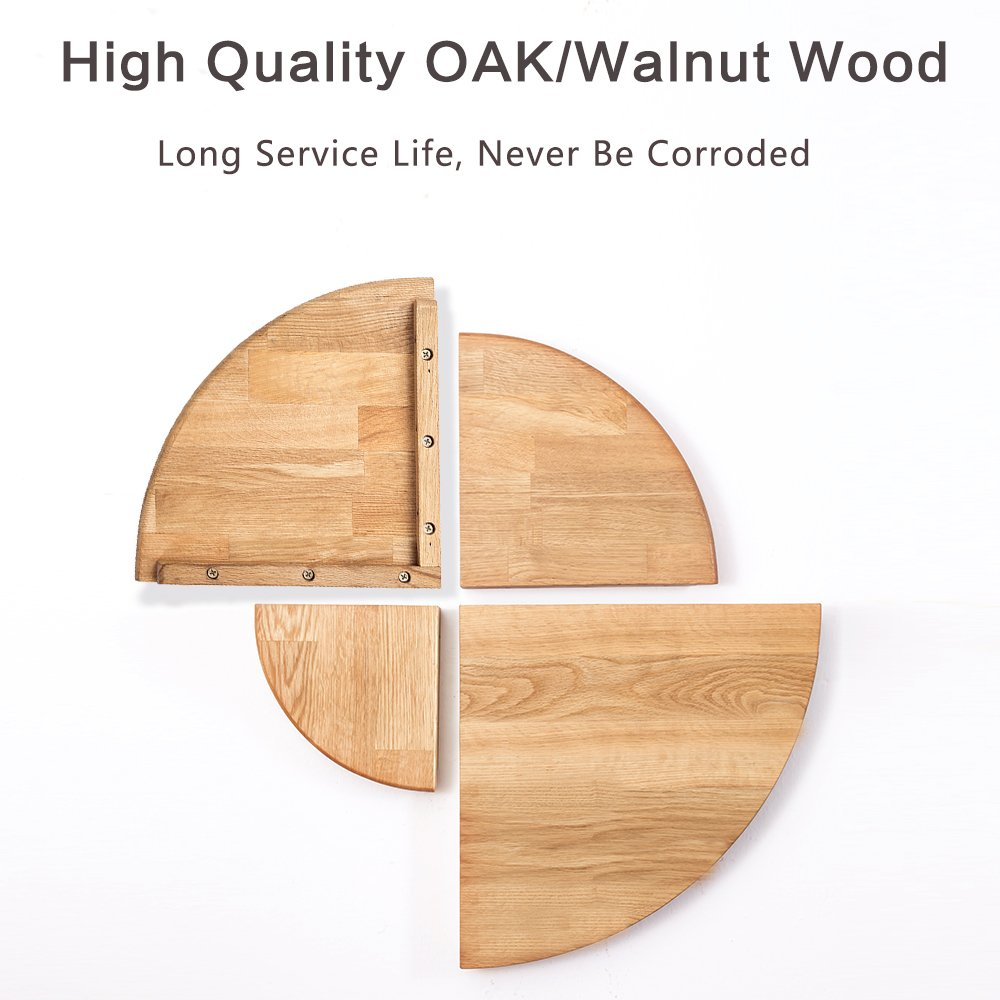 1 Pcs Round End Hanging Wall Mount Floating Shelves Storage Shelving Table Bookshelf Drawers Display Racks Bedroom Office Home Decor Accents Walnut 7 Inman Wooden Corner Shelf Home Accessories Decorative Accessories