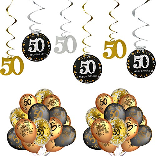 50th Birthday Party Decorations Kits - Sparkling Celebration 50 Hanging Swirls, Gold and Black Latex 50 Birthday Balloons,Perfect For 50 Years Old Party Supplies 50th Anniversary Decorations