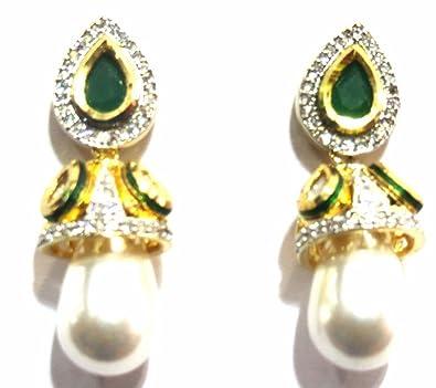 5bd3318f6 Buy Jewelshingar Jewellery American Diamond earrings danglers Studs For  Women (8879-ead-green-999) Online at Low Prices in India   Amazon Jewellery  Store ...