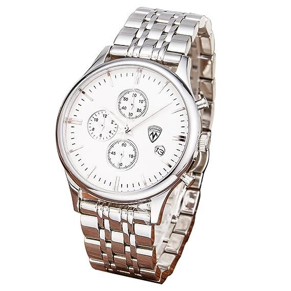 micosum pantalla Full banda de plata de acero inoxidable reloj cronógrafo día hombres de negocios reloj de pulsera Relojes de lujo: Micosum: Amazon.es: ...