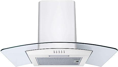 Sia - Campana extractora de cocina CPL71WH, color blanco, cristal curvado, 70 cm: Amazon.es: Grandes electrodomésticos