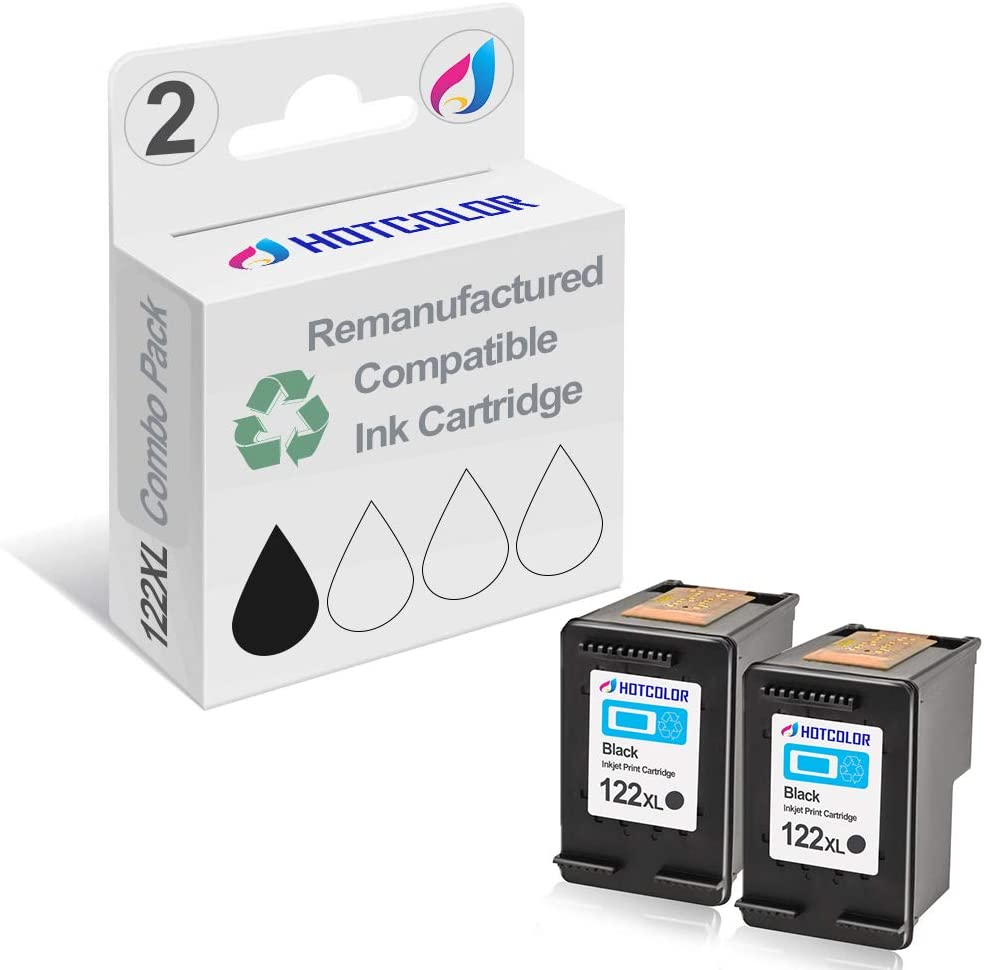 HOTCOLOR 2Pack 122XL Black Replacement for HP 122XL Ink Cartridge for HP Deskjet 1000 1050 2050 2050s 3000 3050A Laser Printer