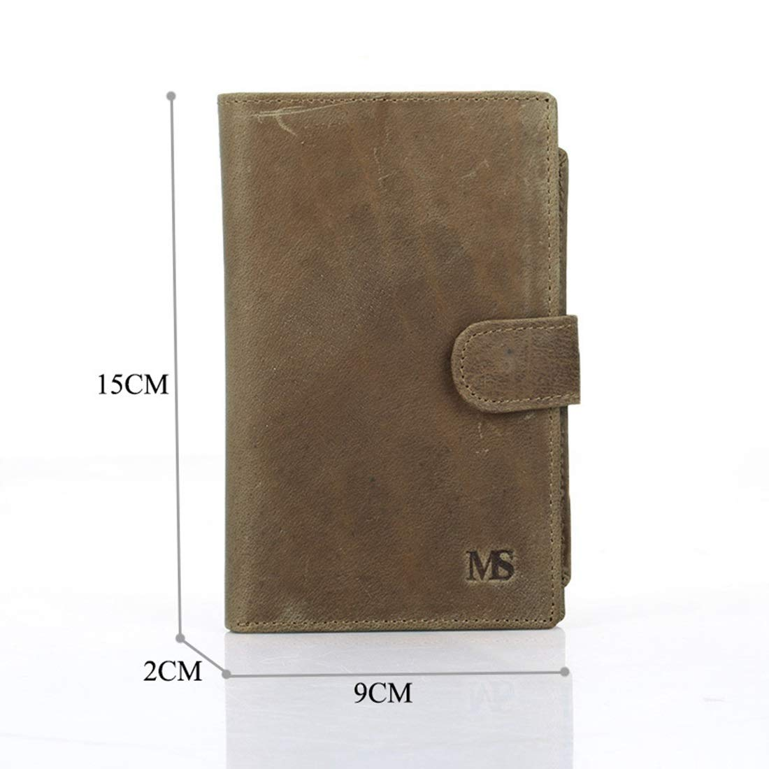 Color : Dark Brown KRPENRIO Mens Wallet Leather Short Wallet Safety Buckle Change Coin Wallet 2 Fold Wallet Brown