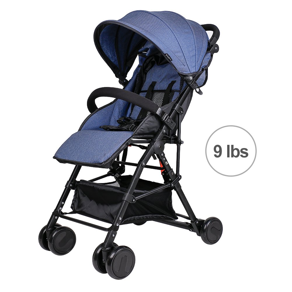 Movker Toddler Lightweight Reclining Stroller One Hand Folding Portable Pushchair with Canopy-Navy Blue