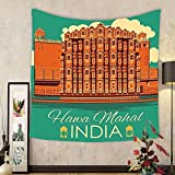Gzhihine Custom tapestry Indian Decor Tapestry Vintage Poster of Famous Monument Hawa Mahal in India Illustration for Bedroom Living Room Dorm 60 W X 40 L Orange and Jade Green
