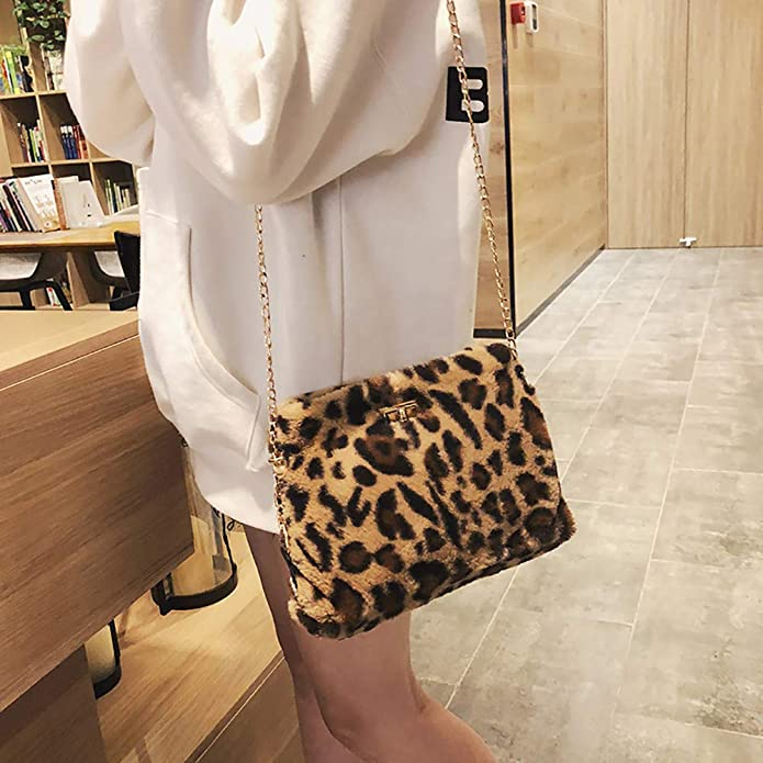 Women Shoulder Bag Faux Fur Leopard Print Sling Chain Bag Plush Crossbody Messenger Bags: Handbags: Amazon.com