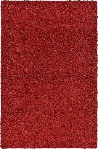 Leather Shag Rug - Unique Loom Solo Solid Shag Collection Modern Plush Cherry Red Area Rug (5' x 8')