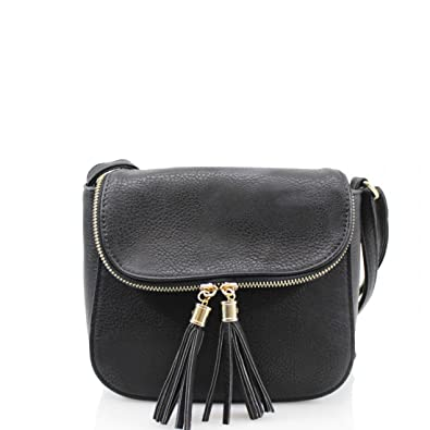 000d006ec6511 WKDS 2027 Ladies Tassel Adorned Small Cross Body Bags Women Girls Shoulder  Side Casual Bags (Black)  Amazon.co.uk  Shoes   Bags