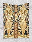 Ambesonne Rustic Decor Collection, Thai Gate at Wat Sirisa Tong Thailand Buddhism Architecture History Spiritual Picture, Bedroom Living Room Dorm Wall Hanging Tapestry, Golden Teal