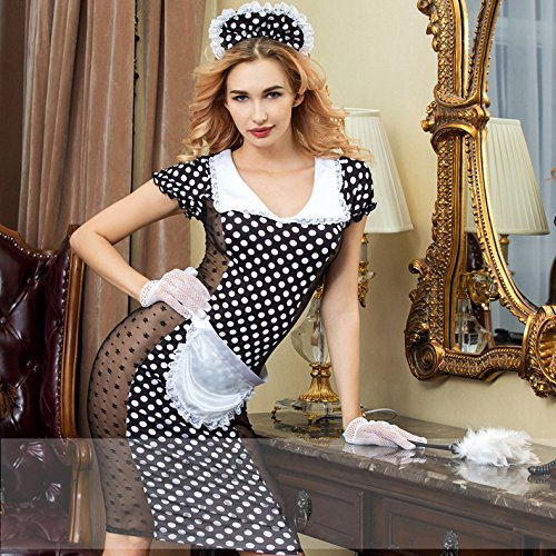 0c8d85b6d0e Sexy Maid Waitress Costume Outfit Lace Lingerie Uniform Playwear with hat,  Apron, Gloves, G-String (Polka dot Black)