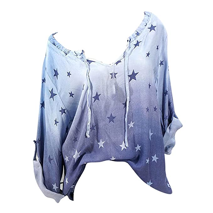 juqilu Blusas Para Mujer, Casual Moda Impresión Camiseta Cuello V Mujeres Camisetas Sweatshirt Sudaderas Básicas