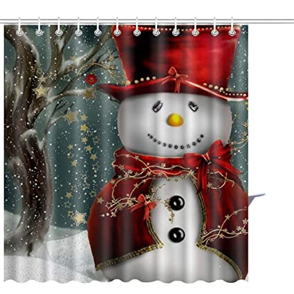 LanMent Custom Merry Christmas Fabric Waterproof Bathroom Shower Curtain Textile Leisure Print Bath