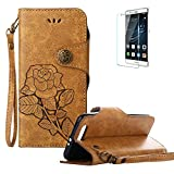 For Huawei Honor 9 Cover [with Free Screen Protector],Funyye Retro Elegant Rose Flower Leaf Creative Pattern Design with [Wrist Strap] and [Credit Card Holder Slots] Stand Function Book Type Durable PU Leather Shell for Huawei Honor 9 - khak