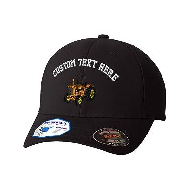 8ef1d795bd78c Amazon.com  Custom Text Embroidered Old Tractor Orange Flexfit Hat Baseball  Cap  Clothing