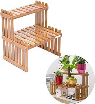 exttlliy bambú DIY de mesa Planta Soporte de escritorio maceta soporte estantería de 2 niveles para hogar oficina decoración: Amazon.es: Jardín