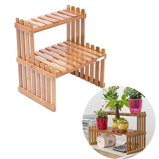 exttlliy bambú DIY de mesa Planta Soporte de escritorio maceta ...