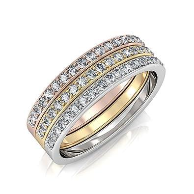 c8a9e1f28 Cate & Chloe Elizabeth Faithful 18k Tri-Colored Gold Plated Ring Set,  Jewelry Women
