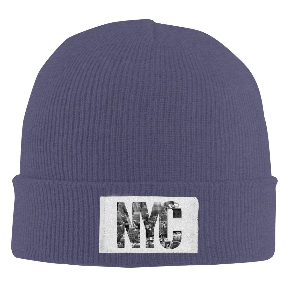 Stretchy Cuff Beanie Hat Black Dunpaiaa Skull Caps Newyork City Winter Warm Knit Hats