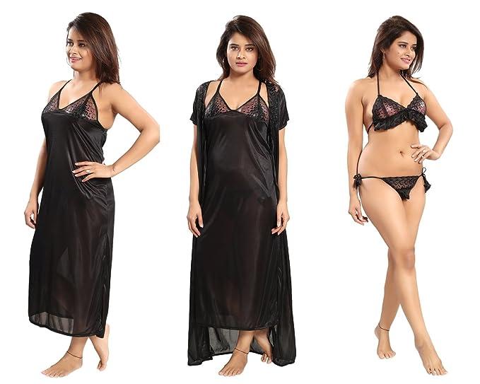 REPOSEY Women s Satin Nightwear Set of 4 Pcs a4f9d63d18