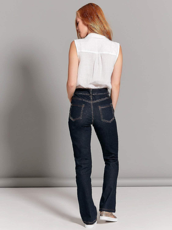 M/&Co Ladies Petite Size Cotton Stretch Classic Indigo Denim Wash Slim Fit Bootcut Jeans