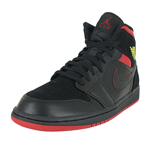 quality design 31e38 db2eb Image Unavailable. Image not available for. Color  Jordan Mens AIR 1 MID  Black Tour Yellow Gym RED ...