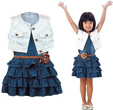 Amazon Com Vestido Nuevo Chaqueta 2 Piezas Para Ninas Modelos De Verano Chaleco Pantalones Vaqueros Para Ninas Ropa Vaqueros Para 2 7 Anos Azul Denim 6 7 Anos Clothing