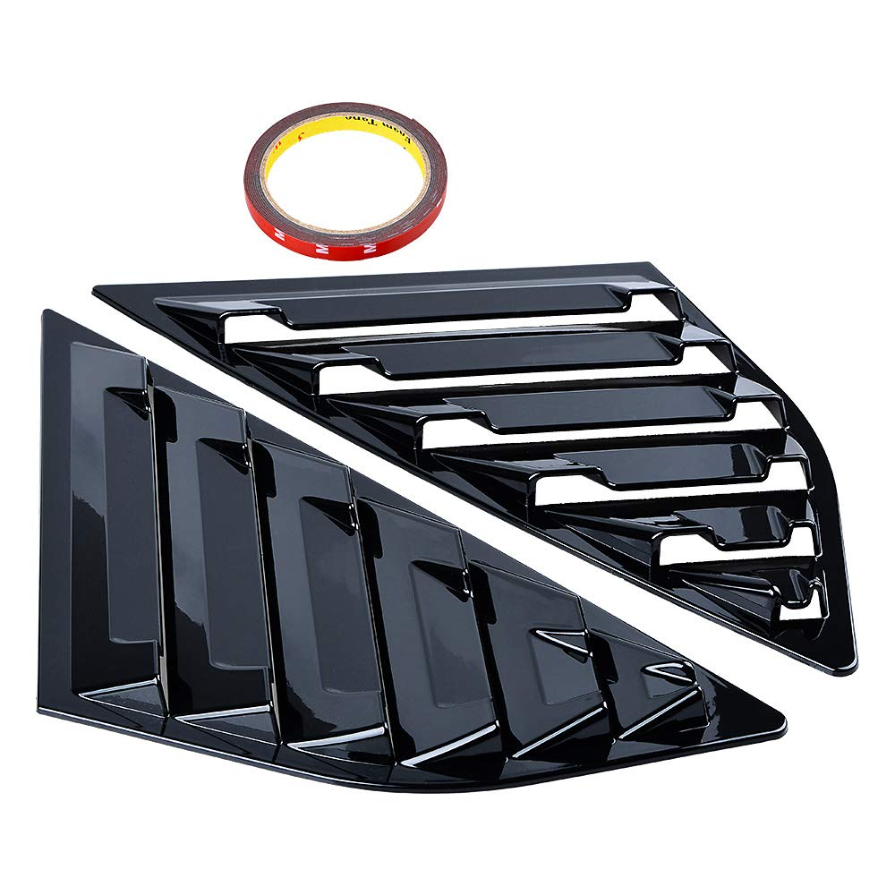 Astra DepotS Compatible with Ford Focus SE SEL ST RS MK3 Hatchback 2PCS Rear Window Quarter Side Vent Window Louvers Scoop Cover (Shiny Black)