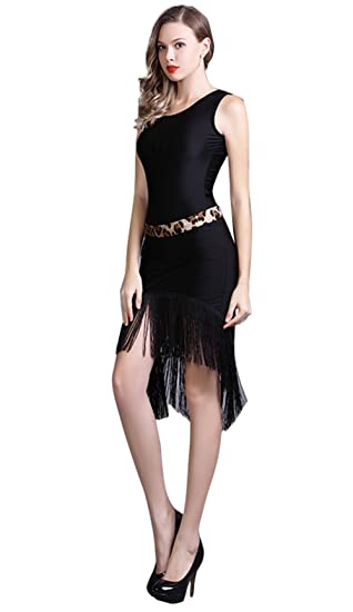 Yc Well Women Latin Dance Dress Tassel Salsa Rumba Cha Cha Samba