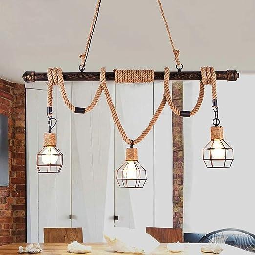 Lámpara de techo rústica vintage, cuerda de cáñamo, luz ...